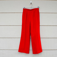 Vintage Pendleton Ladies Pants, Bright Red Wool Pants, Fully Lined, Wide Leg, Vintage Size 10, circa 1960s