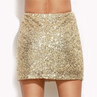 Women Short Skirt Women Clothing Sexy Clubwear Solid Gold Embroidered Sequin A Line Mini Skirt