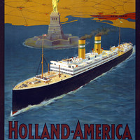 Holland America Line Vintage Travel Poster Rotterdam New York