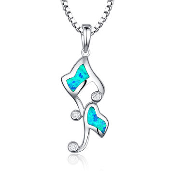 Sterling Silver Music Notes W. Blue and Green Fire Opal Pendant Necklace