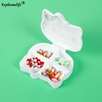 Keythemelife Hello kitty Medical kit 4 Sections Pill Storage Box Compact Kit Medicine Box Drugs for Travel C3