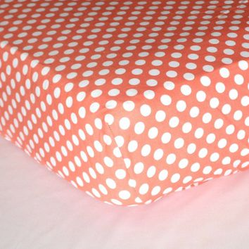 Fitted Crib Sheets | White Polka Dots on Coral