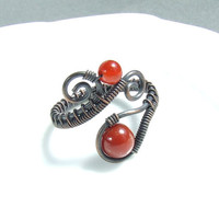 Red carnelian ring, antiqued carnelian ring, autumn colored ring, rustic handmade jewelry