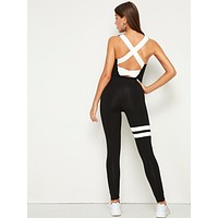 SHEIN Crisscross Open Back Tank Unitard Jumpsuit Without Bag