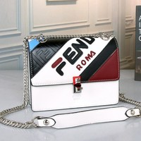 FENDI Women Fashion Leather Crossbody Shoulder Bag Satchel