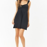 Ruched Ruffle-Trim Mini Dress