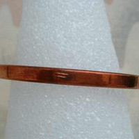 HL Signed Rigid Copper Cuff Bracelet For Smaller Wrist Vintage Jewelry