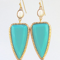 It's Going Down Aqua Earrings