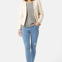 Women's Topshop Moto 'Leigh' Ripped Skinny Jeans (Blue)