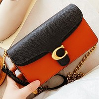 COACH New fashion hit color leather shoulder bag crossbody bag