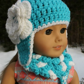 blue and white crochet beanie hat with ear flaps and flower,braided infinity scarf,18 inch doll clothes, american girl, maplelea