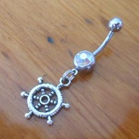 Silver Ships Wheel Belly Button Ring - Belly Button Piercing