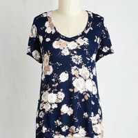 Fairytale Mid-length Short Sleeves Just Because Tee in Navy
