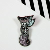 Spooky Mermaid Enamel Pin
