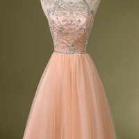 Blush Pink Backless Tulle Short Prom\Homecoming Dresses