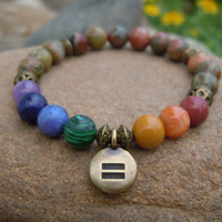 Love Bracelet, Equality, Gay Pride, Rainbow, Marriage Equality, Stretch Bracelet, Love is Love, LGBT, Meditation Mala, Human Rights Campaign