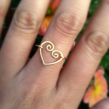 Antique Gold Tone Abtract Heart  Ring  Love Ring by BaubleBerryLuv