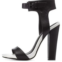 Black/White Color Block Chunky Heel Sandals by Charlotte Russe
