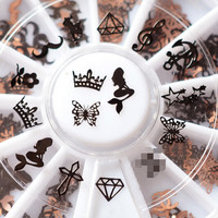 240pcs 3D Metal Christmas Nail Art Decoration Slice Black Stickers Decal Foil Wheel Beauty Nail Tool NA876