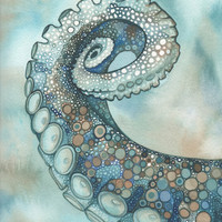 Octopus tentacle arm 8.5 x 11 print of hand painted detailed watercolour artwork in whimsical earth tones