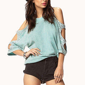 FOREVER 21 Bejeweled Cutout Sleeve Tee