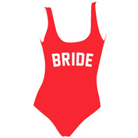 Bride Red One Piece Swimsuit