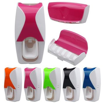 Automatic Toothpaste Dispenser + 5 Toothbrush Holder Set Wall Mount Stand toothbrush Family bathroom sets