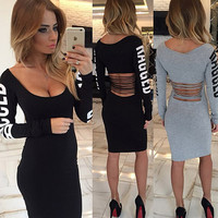 Winter Round-neck Print Hollow Out Sexy Women's Fashion One Piece Dress [6368736132]