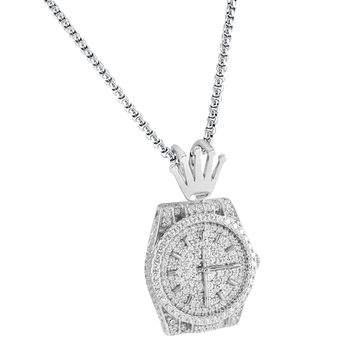 """Designer 14k White Gold Finish Luxury Presidential Watch Iced out 3D Logo Silver Pendant 24""""Chain"""