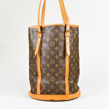 Louis Vuitton Brown Monogram Canvas & Vachetta Leather GM Bucket Bag