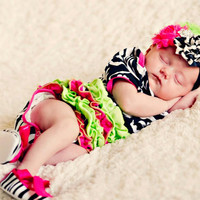 Zebra Onesuit hot pink lime green tutu  by TheBabyBellaBoutique