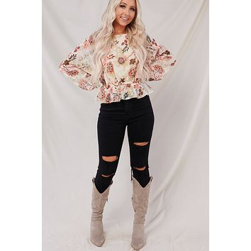 Just Getting Started Floral Top (Beige/Rust/Pink)
