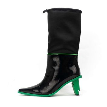 Women Vintage Leather Pointed Toe Mid-Calf Boots