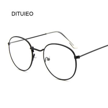 Retro Round Glasses Men Women's Sun Glasses Metal Frame Eyewear Vintage Female Optics Eyeglasses Clear Lens Transparent Top