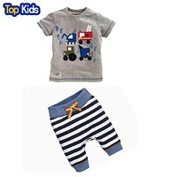 baby kids boys summer clothes short sleeve T-shirt top striped pants children clothing set