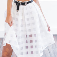 White Sheer Checkered Skater Skirt