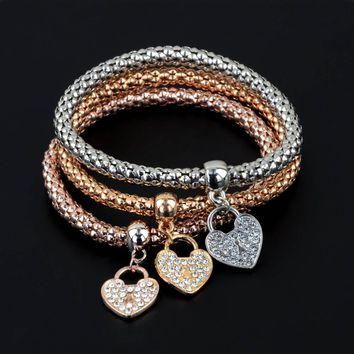 3Pcs/Set  Love Rhinestone Pendant Metal Corn Shape Elasticity Braclet Bangles Women Jewelry 2017 new fashion