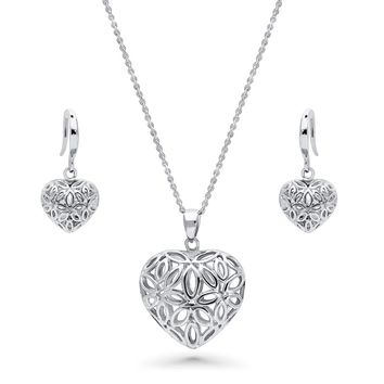 Sterling Silver Filigree Flower Heart Necklace and Earrings SetBe the first to write a reviewSKU# vs546-01