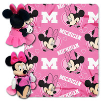 Michigan Wolverines NCAA Minnie Mouse with Throw Combo
