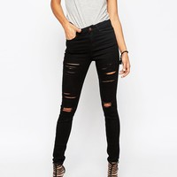 ASOS Ridley High Waist Skinny Jeans In Black With Shredded Rips