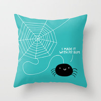 Spiders Have all the Fun Throw Pillow by gemma correll
