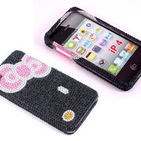 Smile Case Hello Kitty Bowknot Bling Rhinestone Crystal Jeweled Snap on Full Cover Case for AT&T Verizon iPhone 4 4G (4-Bowknot Black)