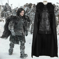 Game of Thrones Cosplay Costume Jon Snow Outfit A song of ice and fire Halloween Costumes For Men Women top+cloak+belt+skirt