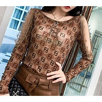Fendi Fashion New Diamond More Letter Print Lace Long Sleeve Top Women  Coffee