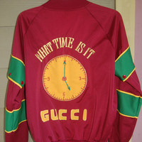 Vintage 80s One of a Kind Homemade Old Skool Hip Hop Crew Gucci What Time Is It Ham-Bone Snap Off Sleeve Jacket Size SML