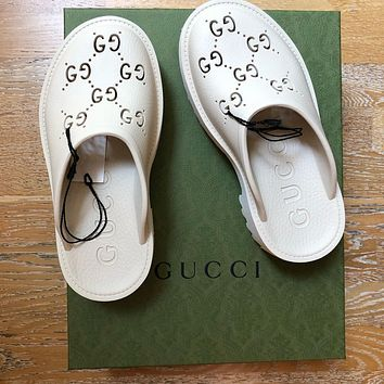 GUCCI GG Women's Double G Hollow Slippers Shoes