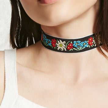 Embroidered Floral Choker