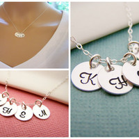 FOUR Initial Necklace - Tiny silver initial necklace - mothers necklace - grandma necklace - hand stamped initials - childrens initials