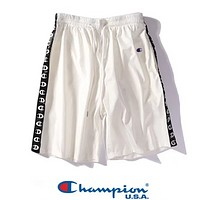 Champion Fashion New Logo String Mark Print Women Men Sports Leisure Shorts White