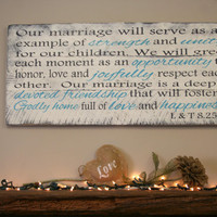 Marriage Vows Pallet Sign Christian Wedding Anniversary Personalized Custom Sign Distressed Wood Shabby Chic Rustic Handmade Handpainted